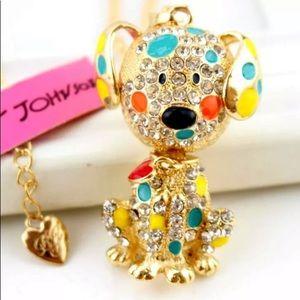 NWT Betsey Johnson Rhinestone Spotted Dog Necklace